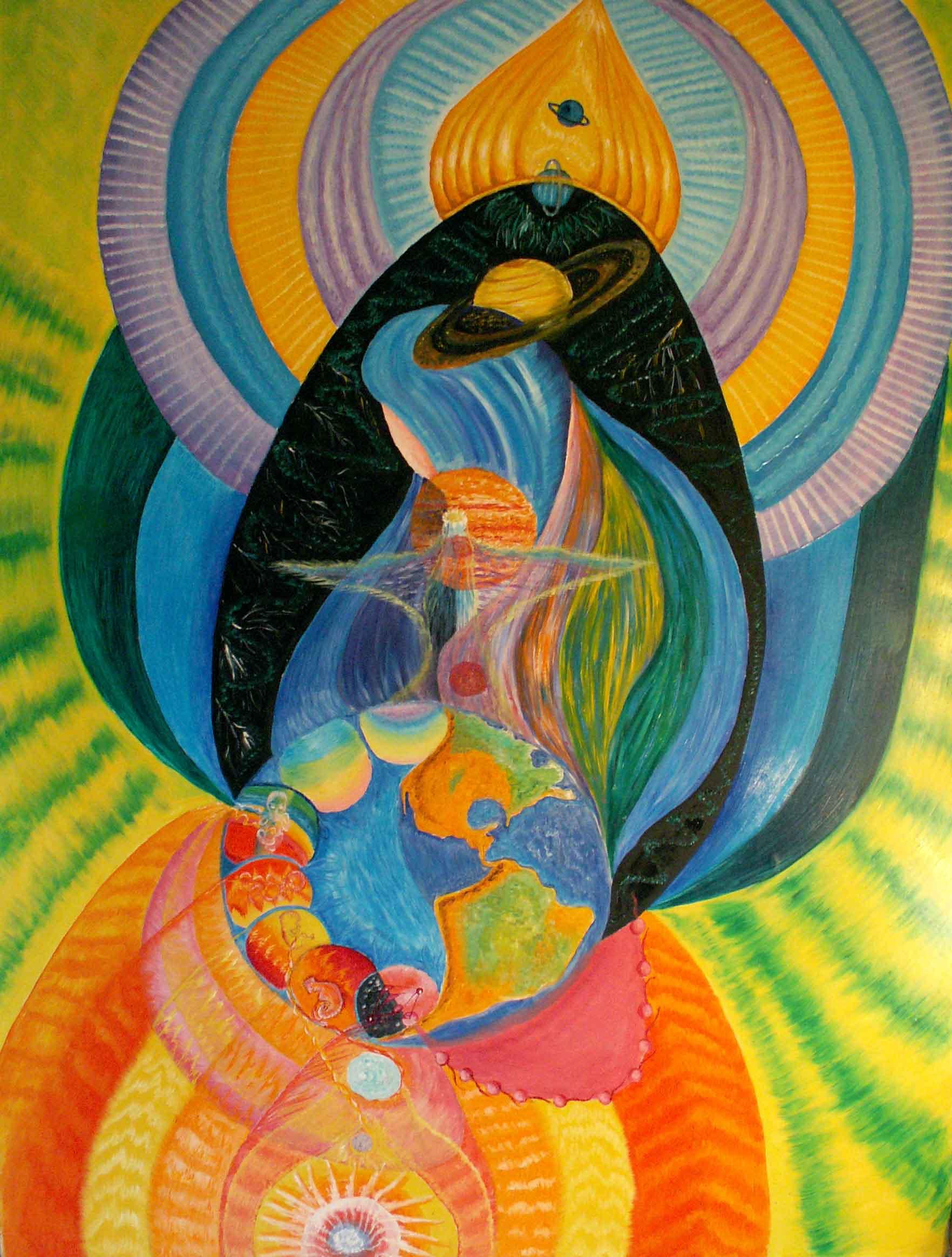 эзотерическая живопись, картины, Небесная Нить, Пальковская-Чабанюк, Эмбриональное сердцебиение младенца Земли на стадии перехода к Шестому этапу его развития